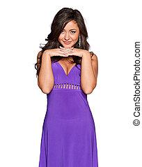 woman in a purple dress