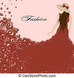 woman in a red dress. Red roses. Beautiful, graceful