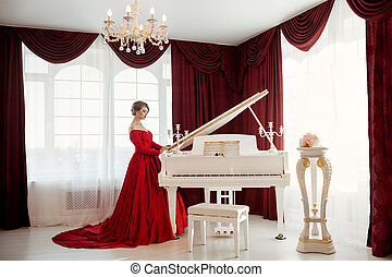 Woman in a red evening dress
