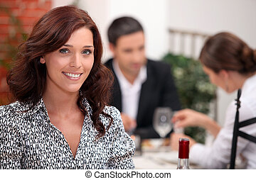 Woman in a restaurant