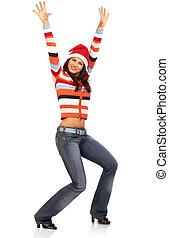 woman in a Santa Cap