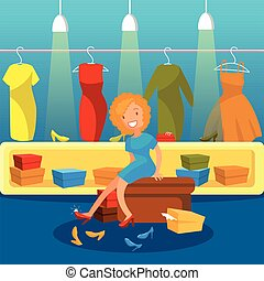 Woman in a shoes store shopping for shoes, girl trying on heels vector Illustration