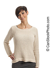 woman in a sweater on white