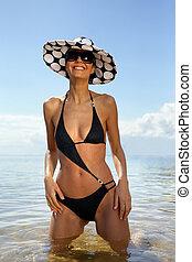 Woman in a trendy swimsuit