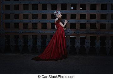 Woman in a vintage dress.