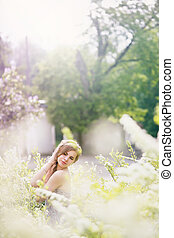 woman in a white bush