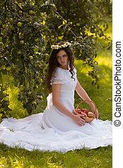 Woman in a white dress
