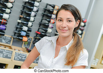 Woman in a wine store