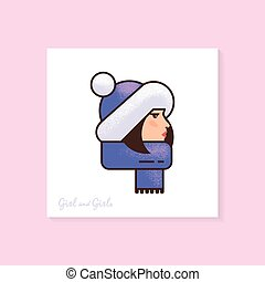 Woman in a winter hat and scarf. High quality color vector illustration of a woman in profile with laterings.