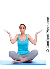 Woman in a yoga meditation pose