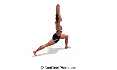 Woman in a Yoga Warrior 1 Pose in Rotation with a White Background