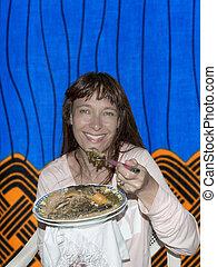 Woman in an African restaurant