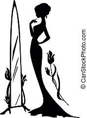Woman in an evening dress vector illustartion