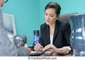 woman in an office