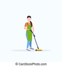 woman in apron using vacuum cleaner female janitor cleaning service floor care concept flat full length white background
