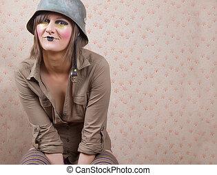 woman in army helmet