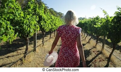 Woman in Australian Vineyard - Australian vineyard. Backside...