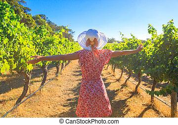 Woman in Australian Vineyard