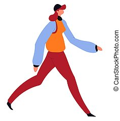 Woman in autumn clothes walking, female character vector