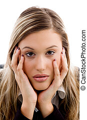woman in bad mood against white background