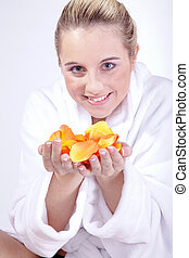 woman in bathrobe with SPA