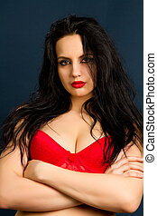 woman in beautiful red lingerie