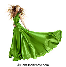 Woman in beauty fashion green gown, long evening dress over isolated white background