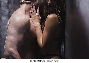 Chest bare Man woman kissing