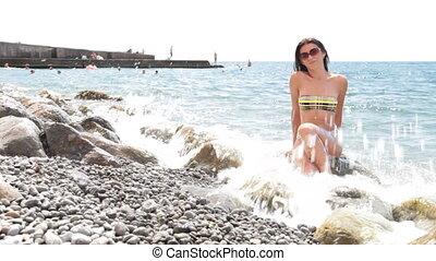 woman in bikini at the beach