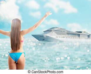 Woman in bikini enjoy her trip with a cruise ship