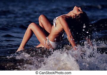 Woman In Bikini In Ocean Spray