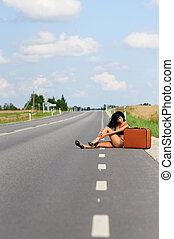 Woman In Bikini On Empty Highway