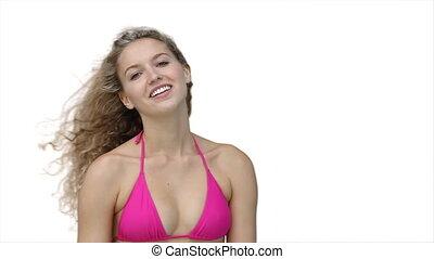 Woman in bikini posing