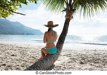 Rear View Of A Woman In Blue Bikini Sitting On Palm Tree Trunk At Beach