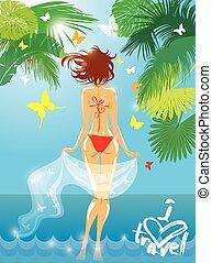 Woman in bikini swimwear at tropical beach with palm tree leaves