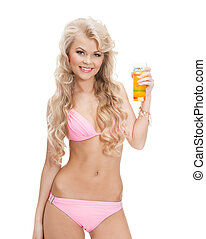 woman in bikini with cocktail - woman in bikini with glass...