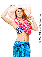Woman in bikini with decoration from flowers posing on white background