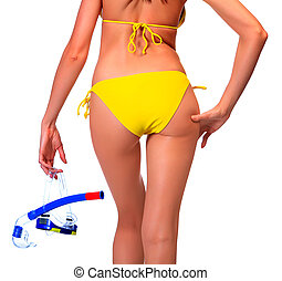 Woman in bikini with the equipment for diving