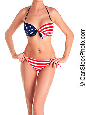 Woman in bikini with USA flag print, isolated on white background