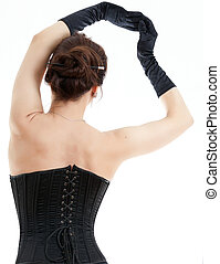 Woman in black corset