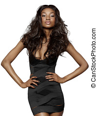 Woman In Black Dress - African young woman with long hair...