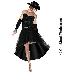 Woman in Black Dress and Hat - Pretty red haired woman in...