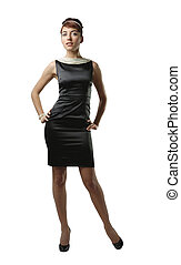 Woman in black dress isolated on white - Woman in small ...