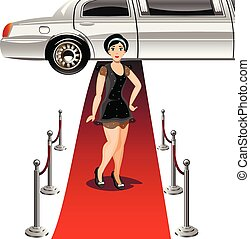 Woman in black dress on Red carpet