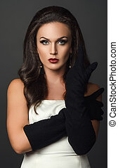 woman in black glove studio portrait