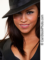 Woman in black hat - Close up of face of an attractive ...