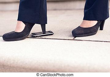 Woman in Black Heel Shoes Step on Phone