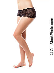 Woman in black lace panties. Isolated on white background