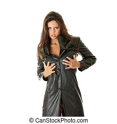 Woman in black leather coat