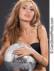 woman in black lingerie with disco ball
